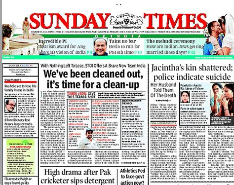 editorial section of times of india the sunday times of india s front page headline calling