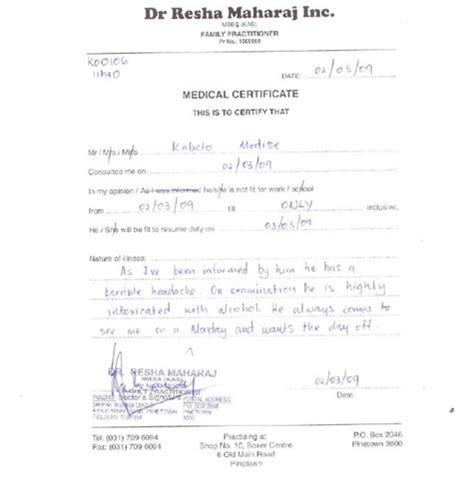 certification letter for sick leave 10 best images of sick certificate