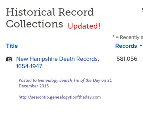 New Hshire Records Search Familysearch Update New Hshire Records 1654 1947 171 Genealogy Search Tip