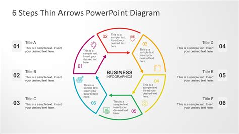 powerpoint circular arrow template 6 steps circular thin arrows powerpoint diagram