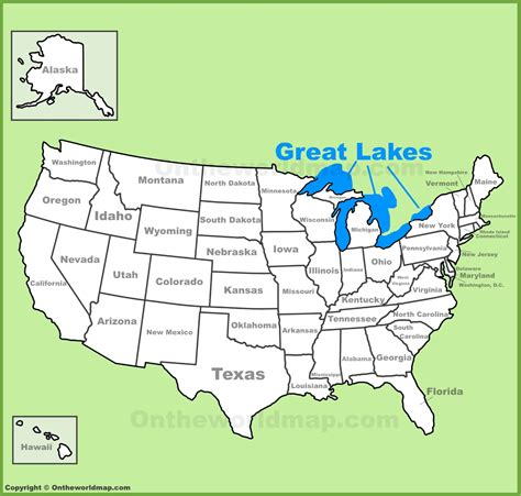 map of united states with great lakes great lakes location on the u s map