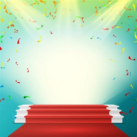 white winner podium vector red carpet falling confetti