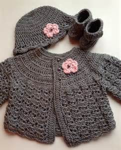 crochet baby sweater hat booties set heather grey 3 6 mo