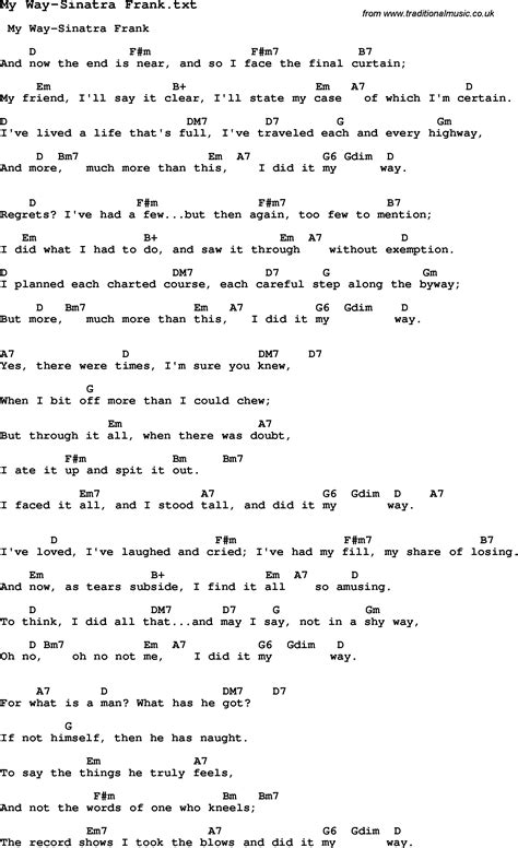 my lyrics jazz jazz song my way sinatra frank with chords tabs and