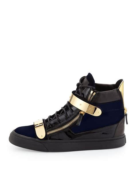 with sneakers giuseppe zanotti velvet hitop sneaker with gold navy