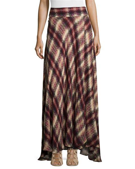 haute hippie chevron plaid print silk maxi skirt in brown