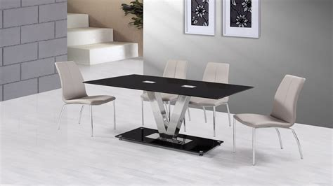 black and gray desk black glass dining table and 6 grey dining chairs homegenies