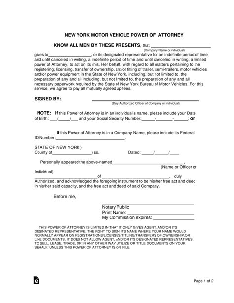 Free New York Motor Vehicle Power Of Attorney Form Pdf Word Eforms Free Fillable Forms Power Of Attorney Template Ny