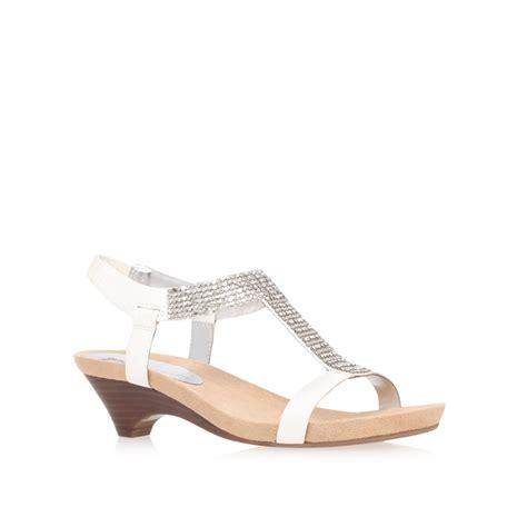 mid heel white sandals klein teale3 mid heel gladiator sandals in white lyst