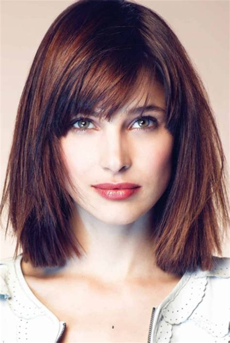 hair bangs short blunt square face cute long haircuts shoulder length bob haircuts with side