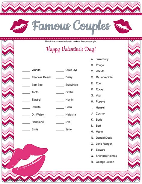 printable romantic games famous couples game printable valentine s game