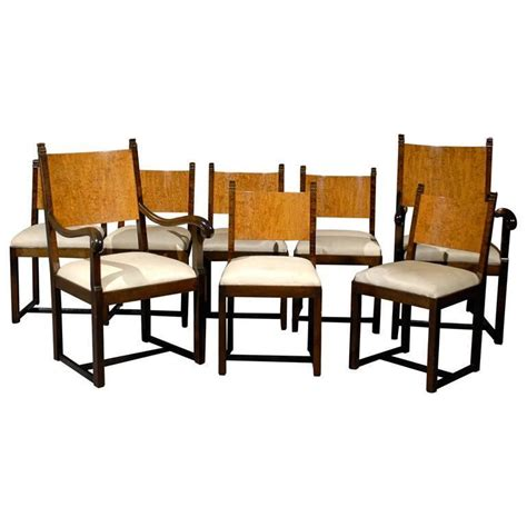 deco dining room furniture set of eight deco dining chairs attributed to eliel saarinen for sale at 1stdibs
