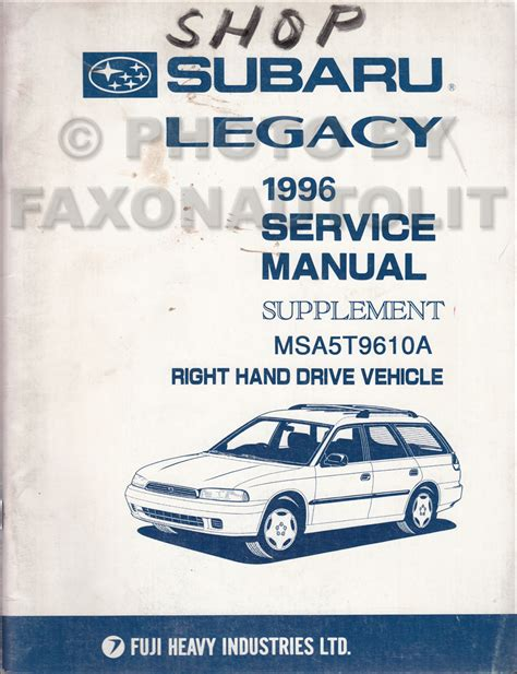1994 subaru legacy repair shop manual supplement original 1996 subaru legacy rhd emissions repair shop manual supplement original