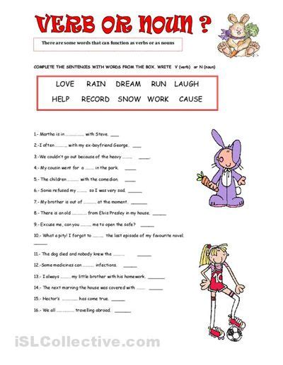 Nouns And Verbs Worksheets by Noun Highschool Worksheet Images Verb Or Noun Worksheet