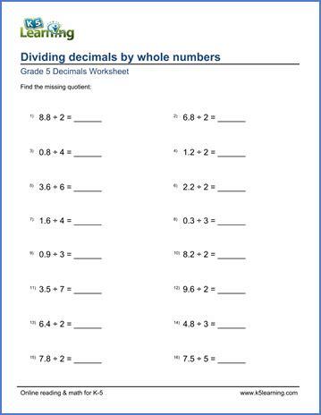 dividing decimals worksheet 7th grade grade 5 math worksheet dividing decimals by whole numbers