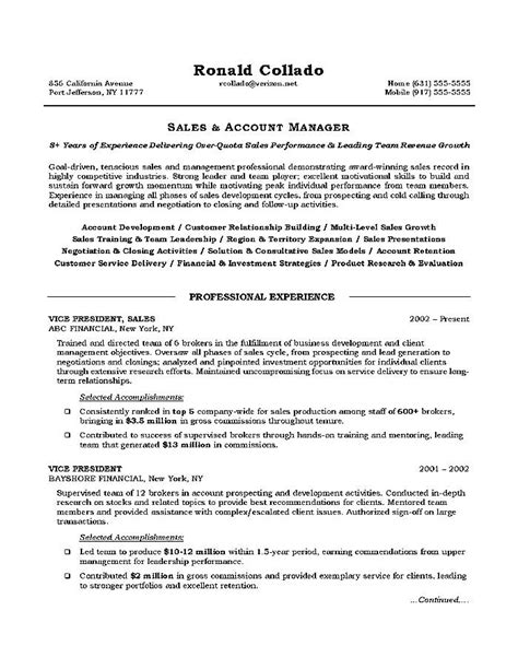 sle of a resume format sales executive resume objective free sles exles
