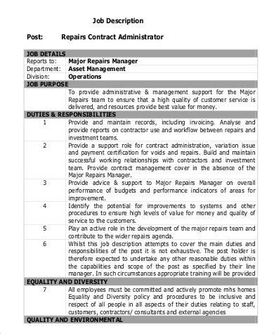 Contract Administration Description contract administrator description sle 8 exles in pdf