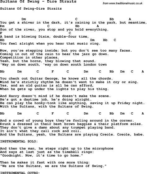 lyrics of swing swing song sultans of swing by dire straits song lyric for