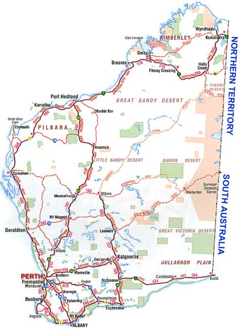 map of western australia road map of south western west australia wa