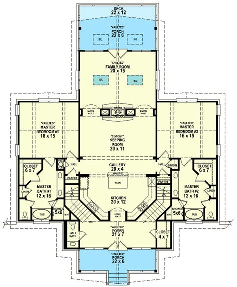 Floor Plans With Two Master Suites | dual master suites 58566sv 1st floor master suite cad
