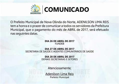 calendario de pagamento dos funcionarios do estado do rj mes abril 2016 prefeito divulga calend 225 rio de pagamentos portal do careiro
