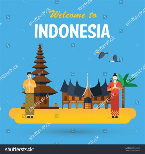 flat design indonesia flat design indonesia pura ulun danu stock vector