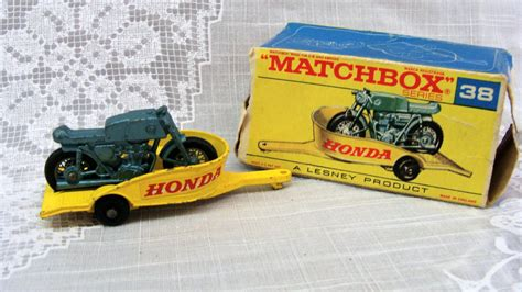 matchbox honda matchbox honda cycle and trailer no 38 lesney made in