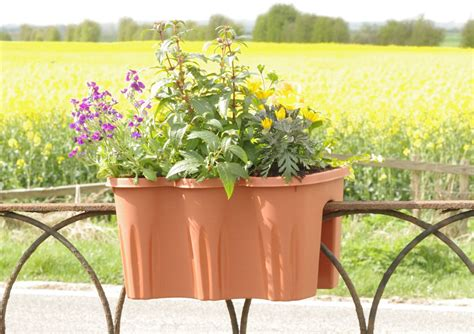 Planters On Fence by Fence Top Garden Hanging Basket Planters Plastic Flower