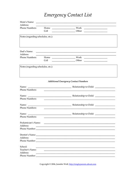 form templates child care emergency contact form child