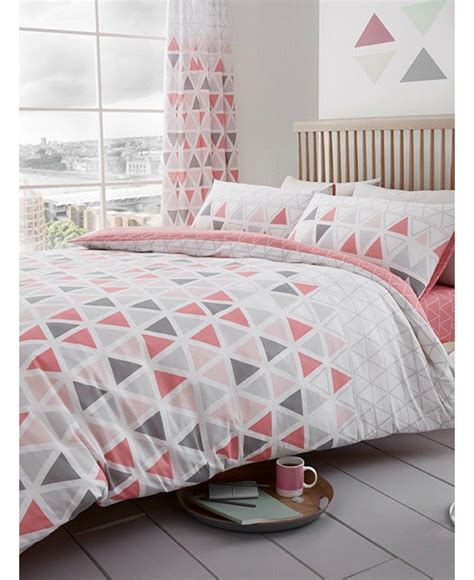 triangle bedding geo triangle single duvet cover and pillowcase set pink