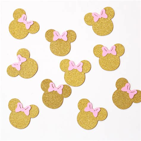 Mickey And Minnie Mouse Home Decor Mickey Mouse Confetti Glitter Gold And Pink Party Decor