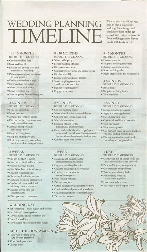 Wedding Checklist And Timeline by 7 Best Images Of Printable Wedding Timeline Checklist 12