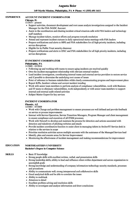 incident coordinator resume sles velvet jobs