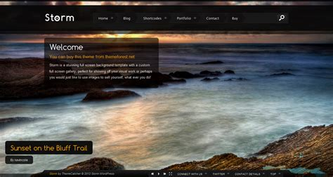 wordpress themes photo background storm wordpress full screen background theme by