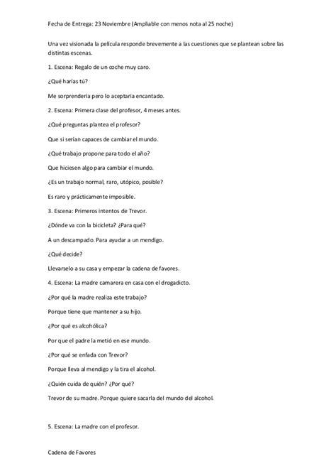 pelicula cadena de favores preguntas y respuestas cadena de favores
