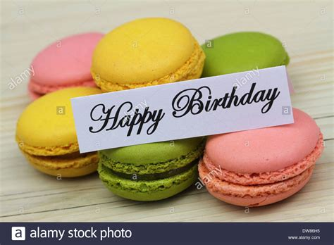 colorful macaroons happy birthday card with colorful macaroons stock photo
