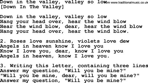 song of velly american song lyrics for in the valley valley