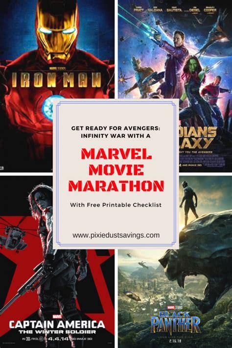 marvel film marathon marvel movie marathon with free printable checklist