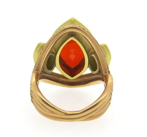 impressive sam lehr mexican opal gold ring at