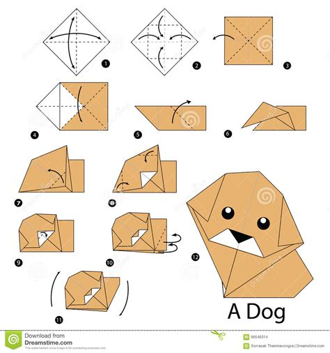 How To Make A Paper Puppy - step by step how to make origami stock