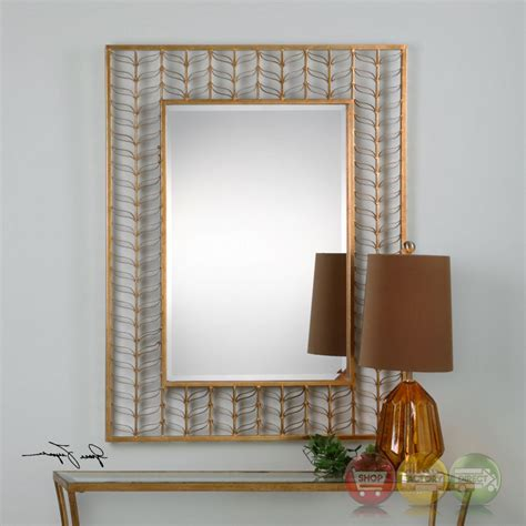gold mirror pattern phyllida artistic rectangular mirror with gold leaf