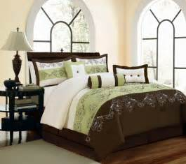 Piece queen roma brown beige sage green floral comforter set