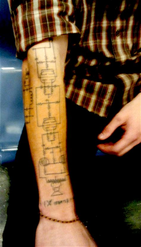 tattoo of schematic brings geek chic to new level make