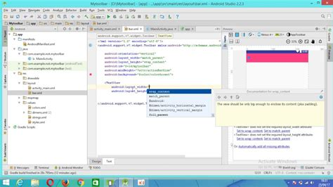 android studio toolbar tutorial android studio membuat toolbar manual youtube