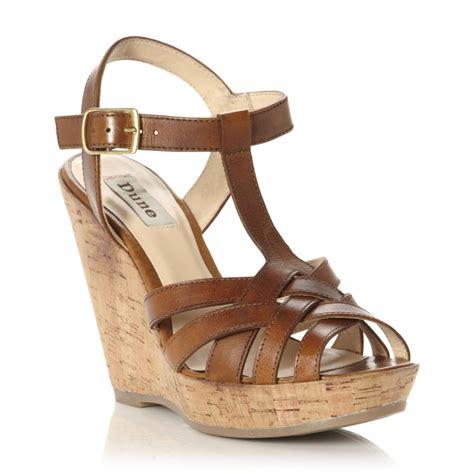 new dune gerri brown leather t bar cork heel