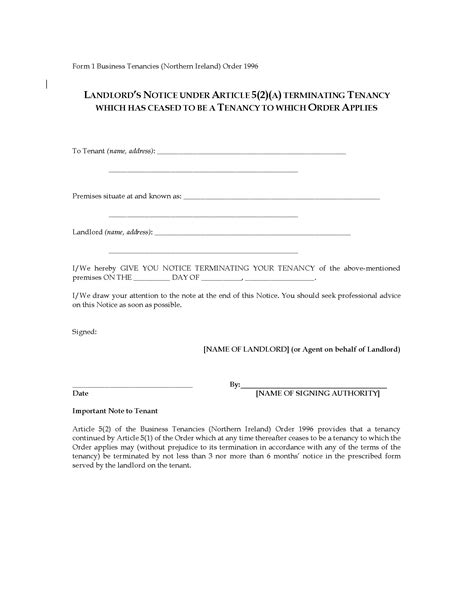 Lease Termination Letter Ireland Northern Ireland Landlord S Notice To Terminate Business Tenancy Forms And Business