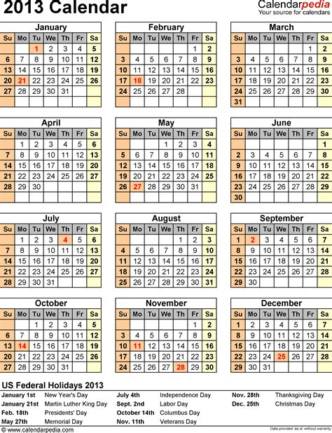 2013 Calendar Excel 11 Free Printable Templates Xls Xlsx Orientation Calendar Template
