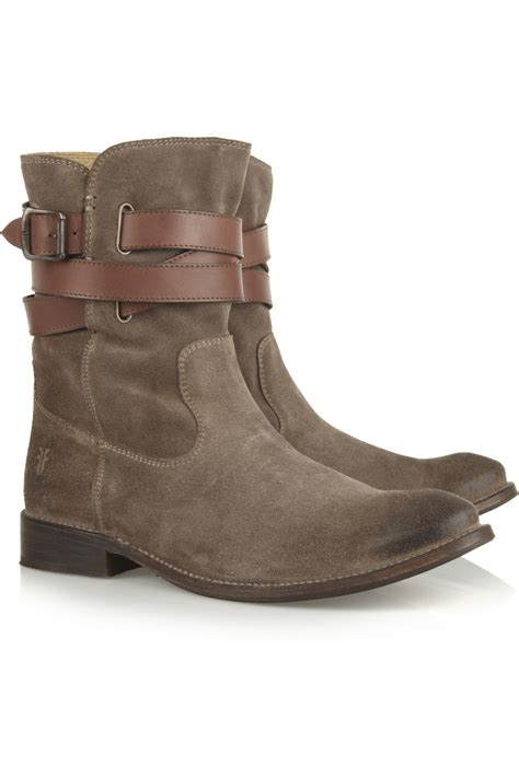 frye shirley suede ankle boots in gray lyst