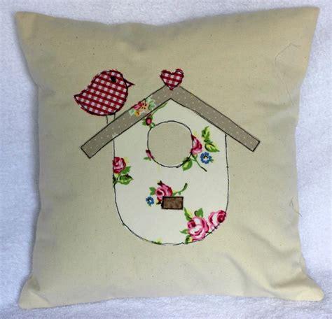 Applique Cushion Shabby Chic Retro Red Gingham Bird Applique Cushion