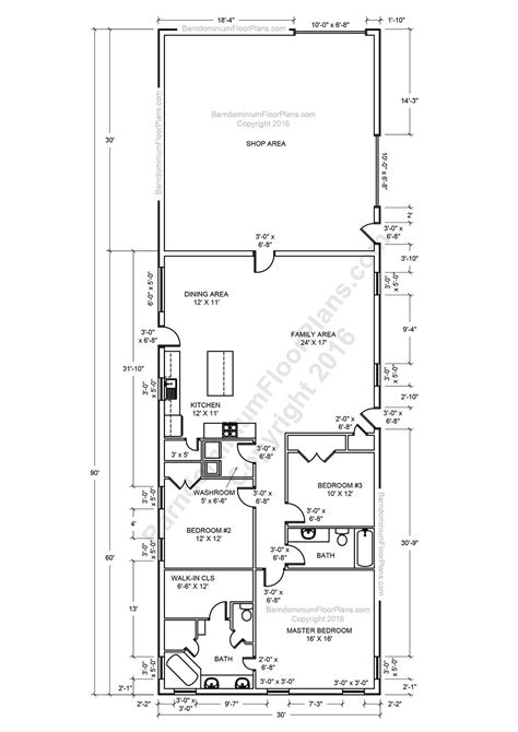 barndominium floor plans 2 story, 4 bedroom, with shop